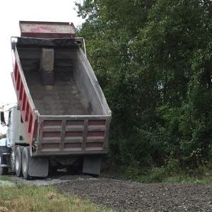 empty gravel truck