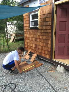 Tiny cabin cedar shingles with Jared